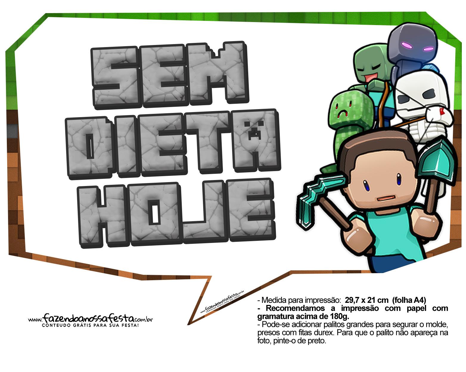 Plaquinhas para Festa Minecraft 9