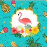 Rotulo Bolinha de Sabao Flamingo Tropical