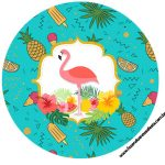 Rotulo Latinhas, Toppers e tubete Flamingo Tropical