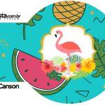 Rotulo Porta Guardanapos Flamingo Tropical Kit Festa