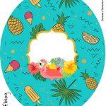 Rotulo Tubete Oval Tampa Marmitinha 500g Flamingo Tropical Kit Festa