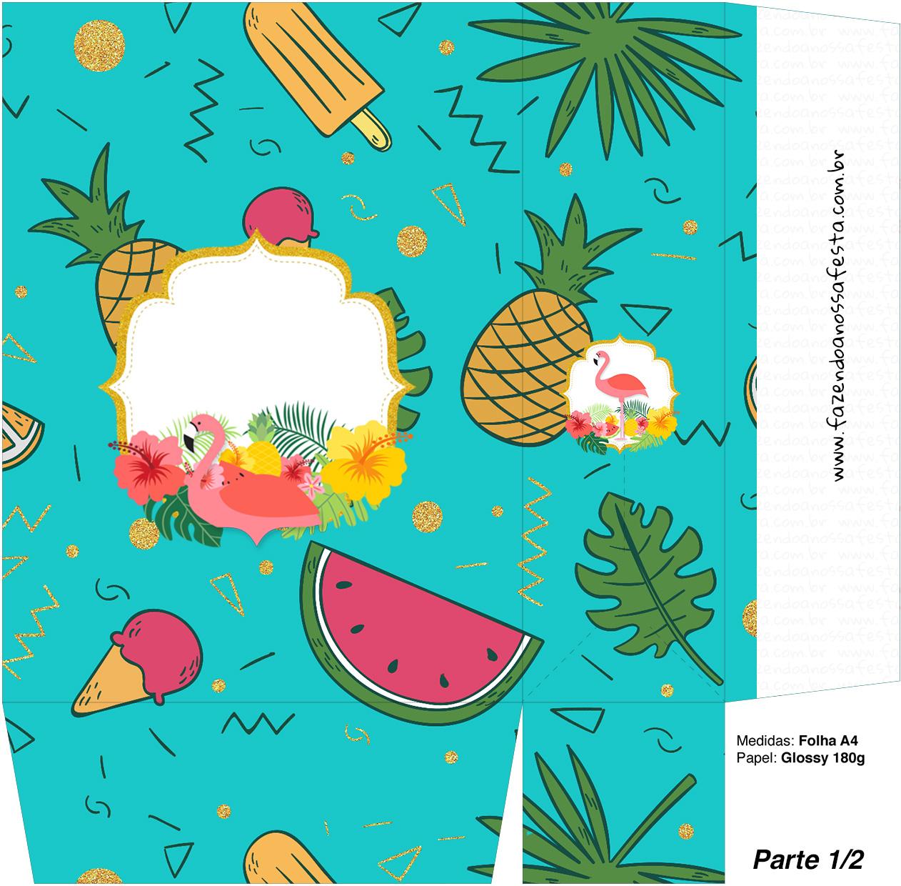 Sacolinha Surpresa 1 2 Flamingo Tropical Kit Festa Fazendo A