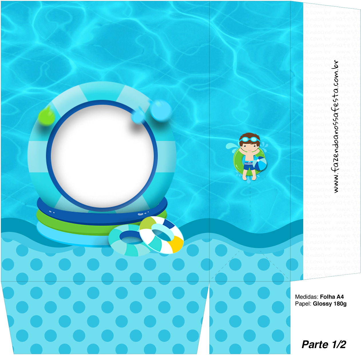 Sacolinha Surpresa 1 2 Pool Party Menino Kit Festa