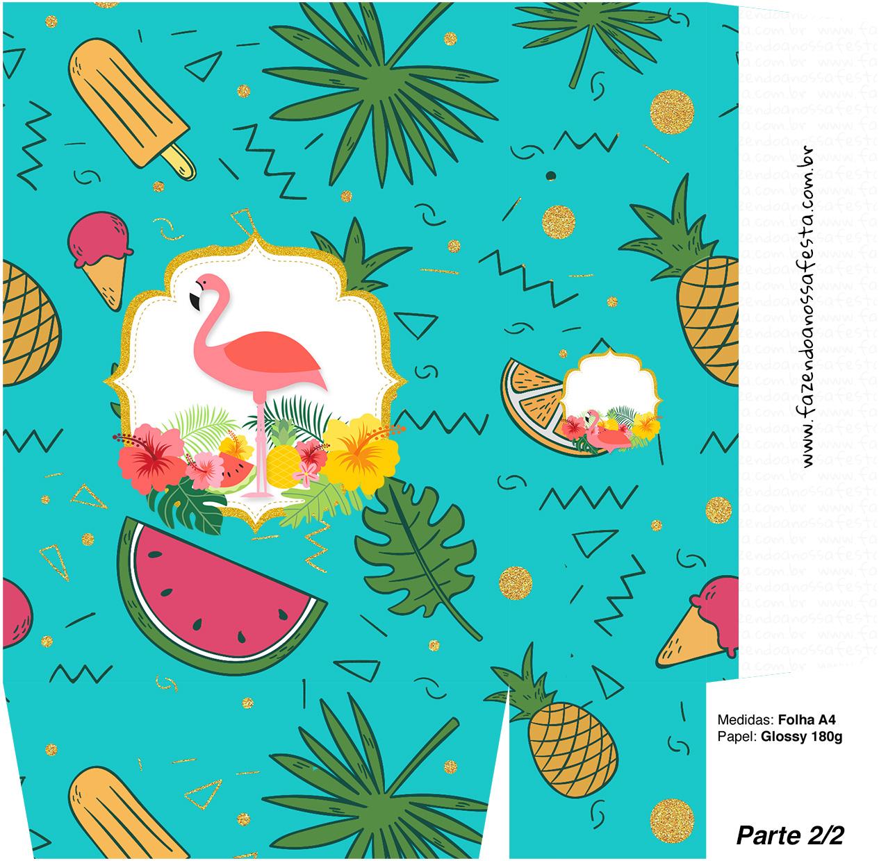 Sacolinha Surpresa 2 2 Flamingo Tropical Kit Festa Fazendo A