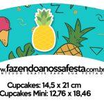 Saias Wrappers para Cupcakes Flamingo Tropical Kit Festa