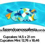 Saias Wrappers para Cupcakes Pool Party Menino Kit Festa
