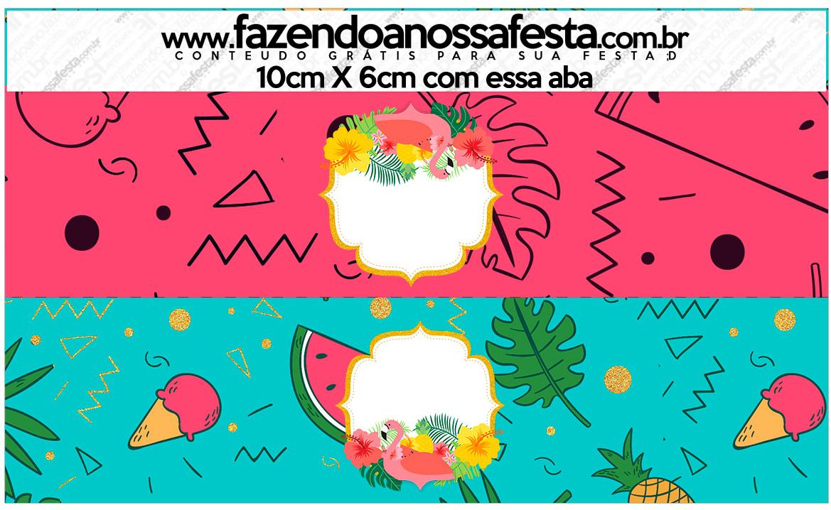 Saquinho De Balas Flamingo Tropical Kit Festa Fazendo A Nossa Festa