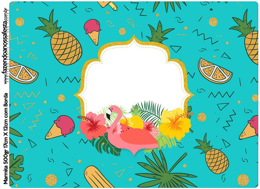Tampa Marmitinha 500g Flamingo Tropical Kit Festa Fazendo A