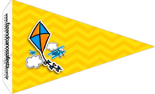 Bandeirinha Sanduiche 4 Pipa Laranja e Azul
