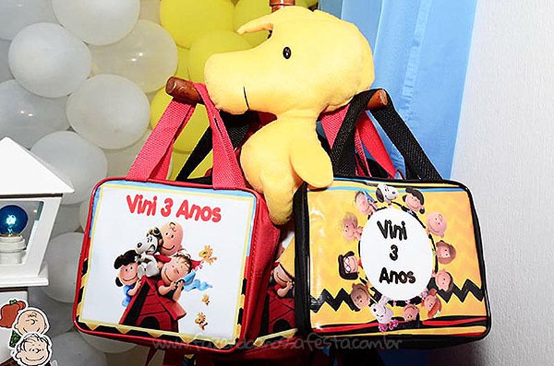 Bolsinha personalizada Festa Snoopy do Vini