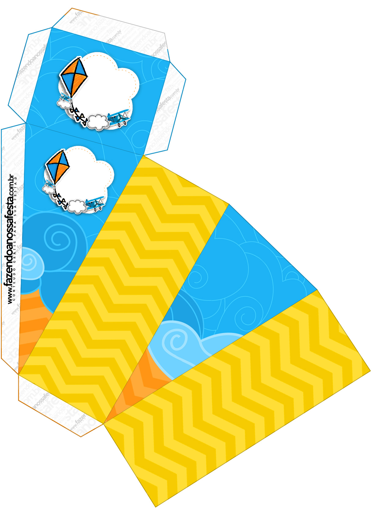 Caixa Fatia Pipa Laranja e Azul Kit Festa