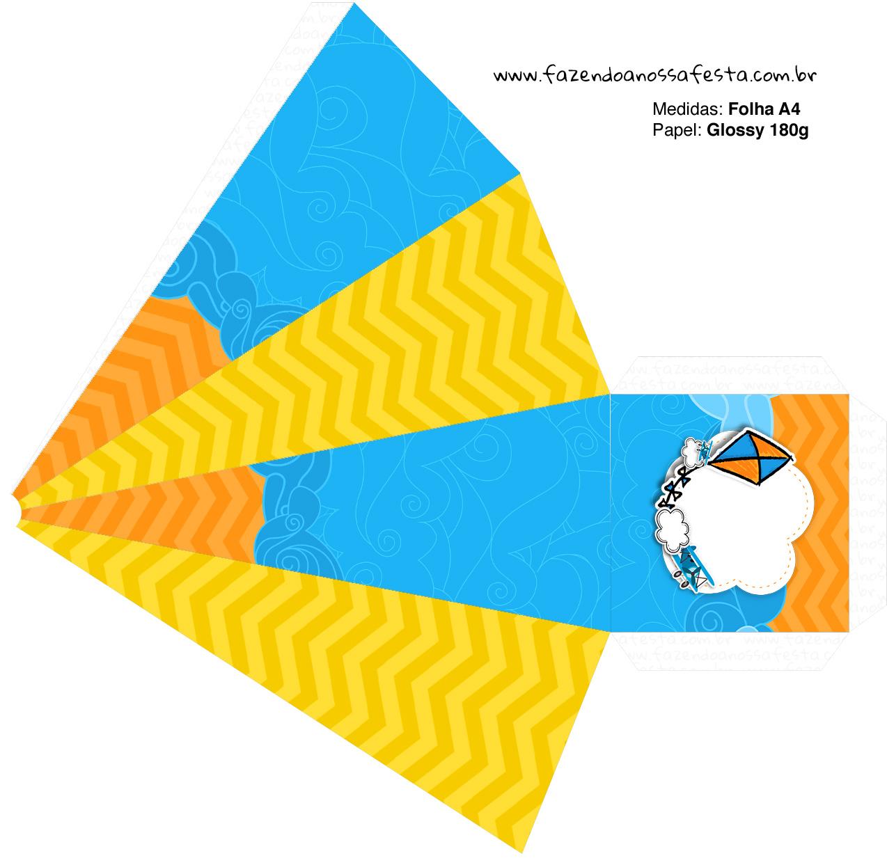 Caixa Piramide 2 Pipa Laranja e Azul