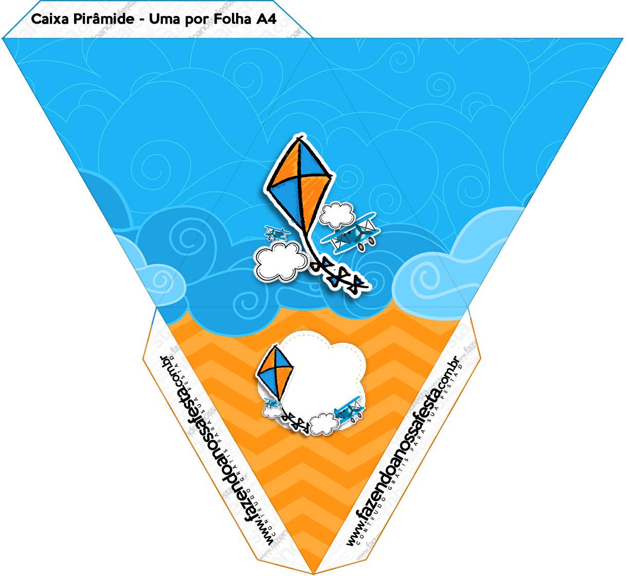 Caixa Piramide Pipa Laranja e Azul Kit Festa