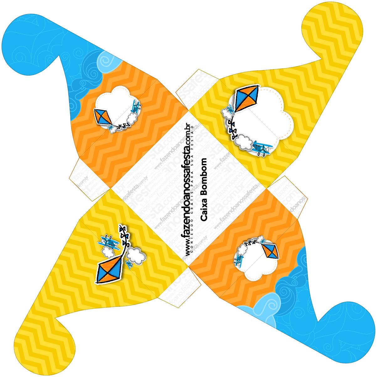 Caixa bombom pequeno Pipa Laranja e Azul Kit Festa