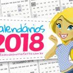 Calendário 2018 com Fundo Transparente Grátis para Imprimir
