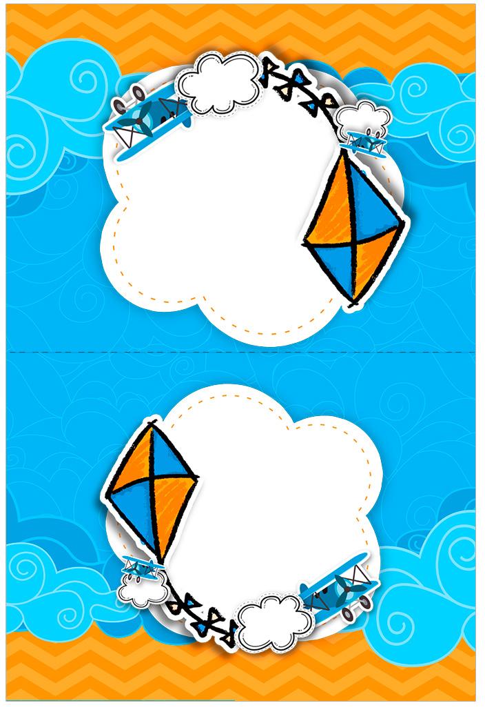 Cartao Agradecimento de mesa Pipa Laranja e Azul Kit Festa