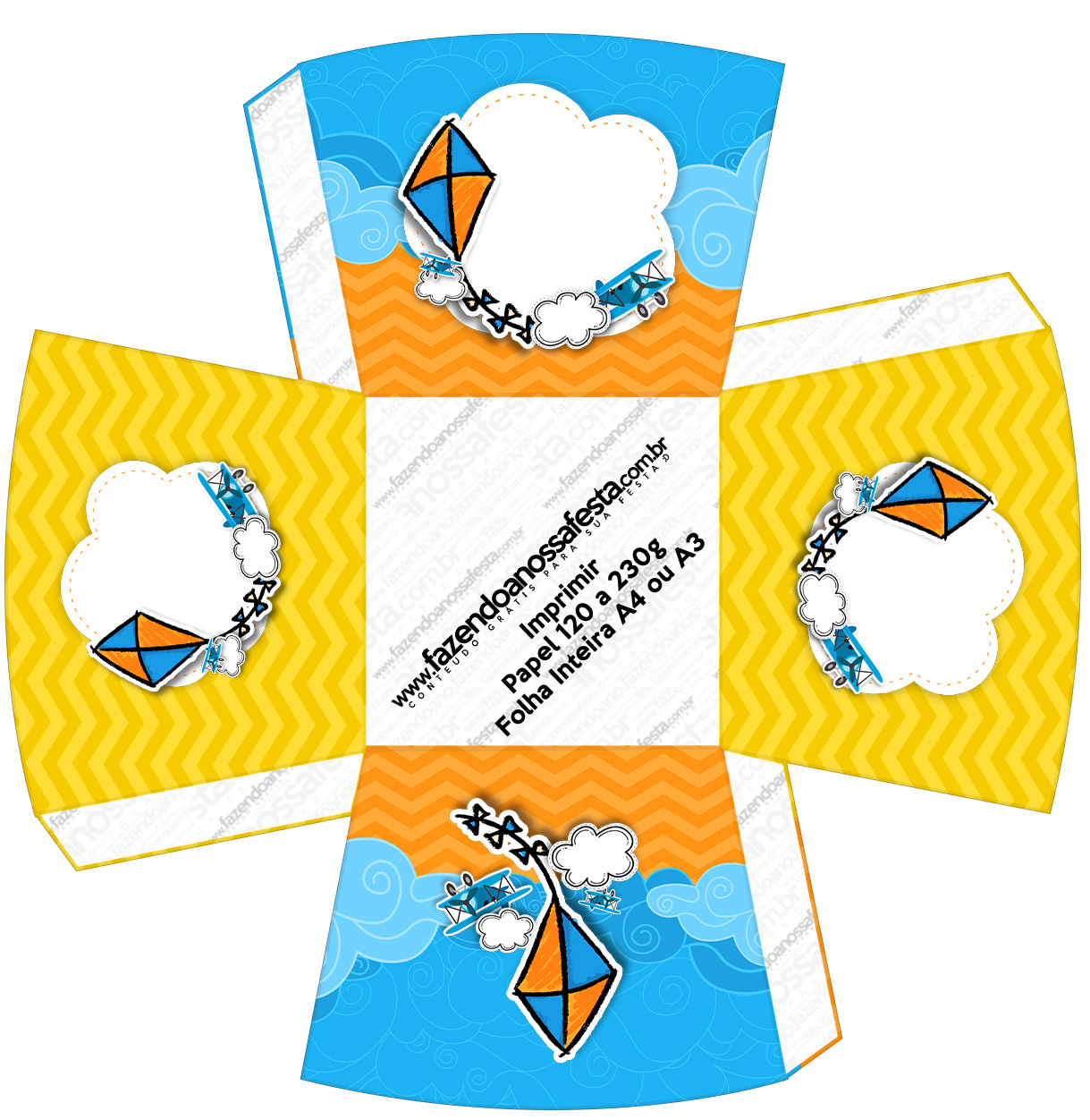 Chachepot Pipa Laranja e Azul Chachepot Pipa Laranja e Azul Kit Festa