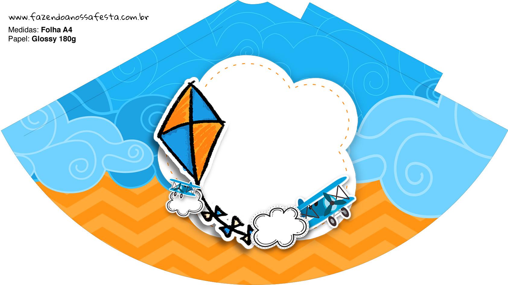 Chapeuzinho de Festa Pipa Laranja e Azul Kit Festa