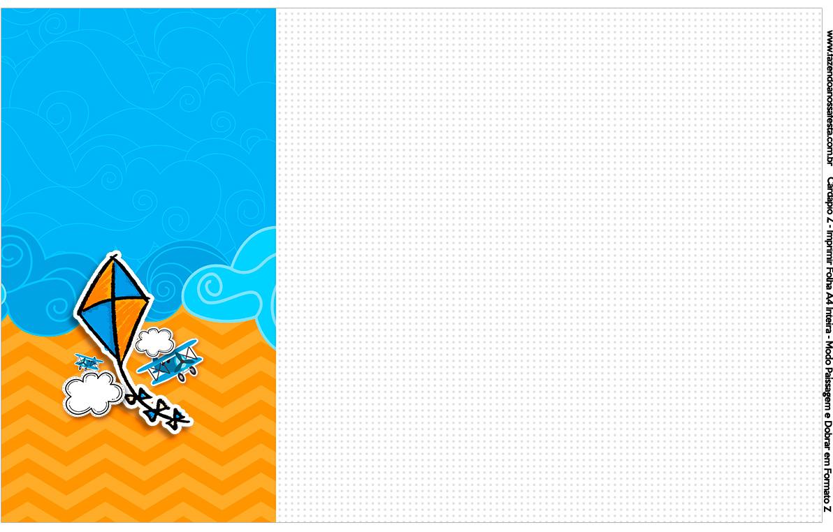 Convite Cardapio ou Cronograma em Z Pipa Laranja e Azul