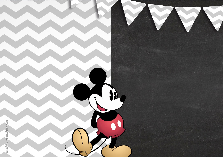 Convite Chalkboard Mickey Mouse Vintage 2