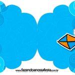 Convite Cupcake Pipa Laranja e Azul