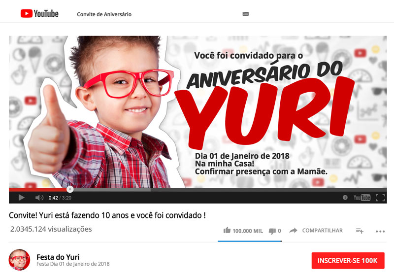 Convite Especial Festa Youtube Preenchido Canal