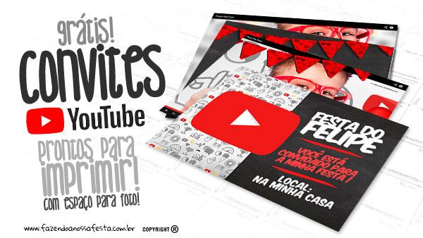 Convite Festa Youtube Modelo