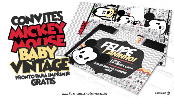 Convite Mickey Baby Vintage Grátis para Imprimir
