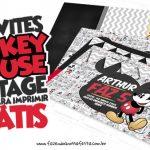 Convite Mickey Mouse Vintage Grátis para Imprimir em Casa