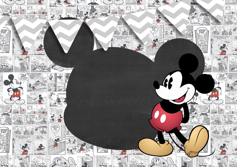 Convite Mickey Mouse festa Vintage 5