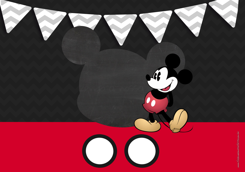 Convite Mickey Mouse para festa Vintage 6