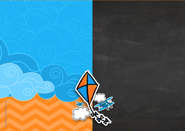 Convite Pipa Laranja e Azul Chalkboard 3