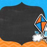 Convite Pipa Laranja e Azul Chalkboard 4
