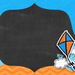 Convite Pipa Laranja e Azul Chalkboard 5