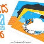 Convite Pipa Laranja e Azul Grátis para Baixar e Imprimir em Casa