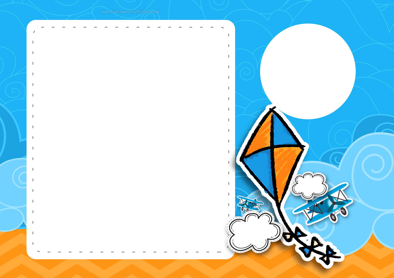 Convite festa infantil Pipa Laranja e Azul