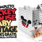Mickey Baby Vintage Kit Festa Grátis para Imprimir em Casa