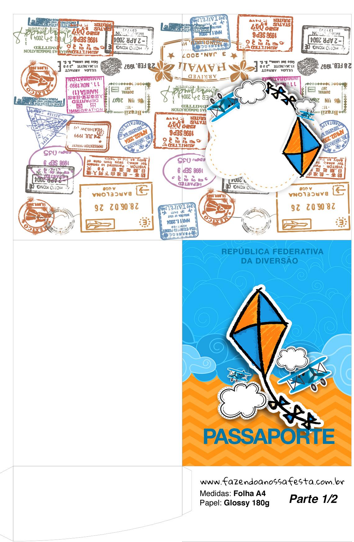 Molde Passaporte Pipa Laranja e Azul Kit Festa