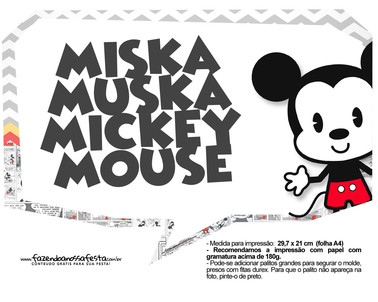 Plaquinhas divertidas Mickey Baby Vintage 18