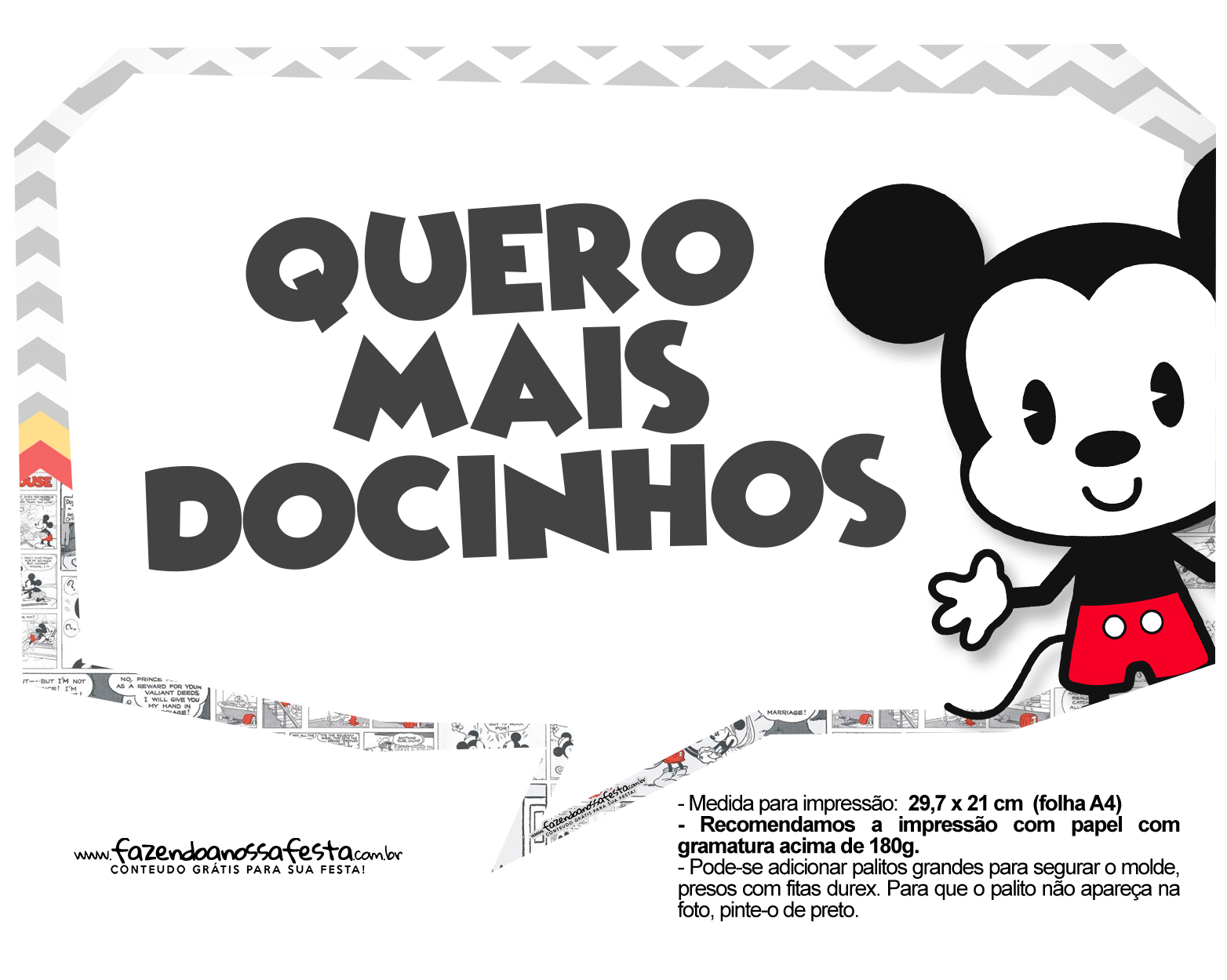 Plaquinhas divertidas Mickey Baby Vintage 23