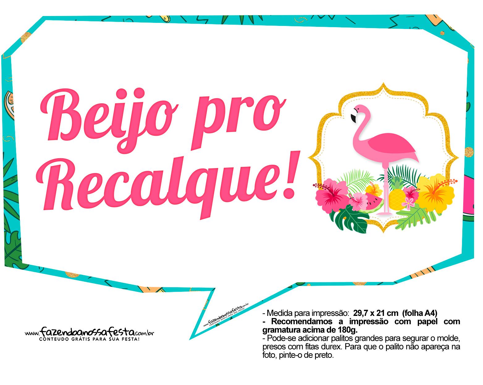 Plaquinhas para Festa Flamingo 1