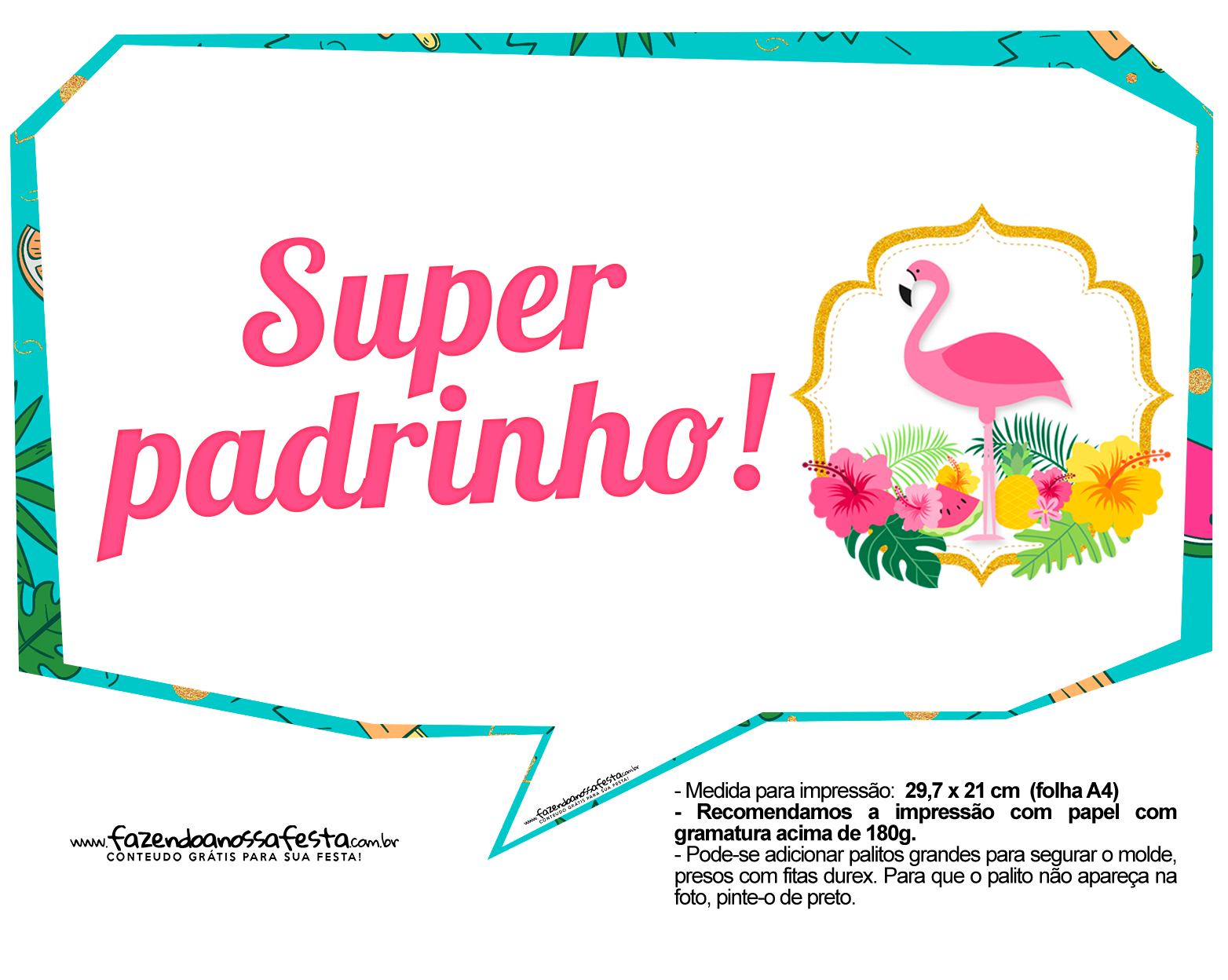 Plaquinhas para Festa Flamingo 11
