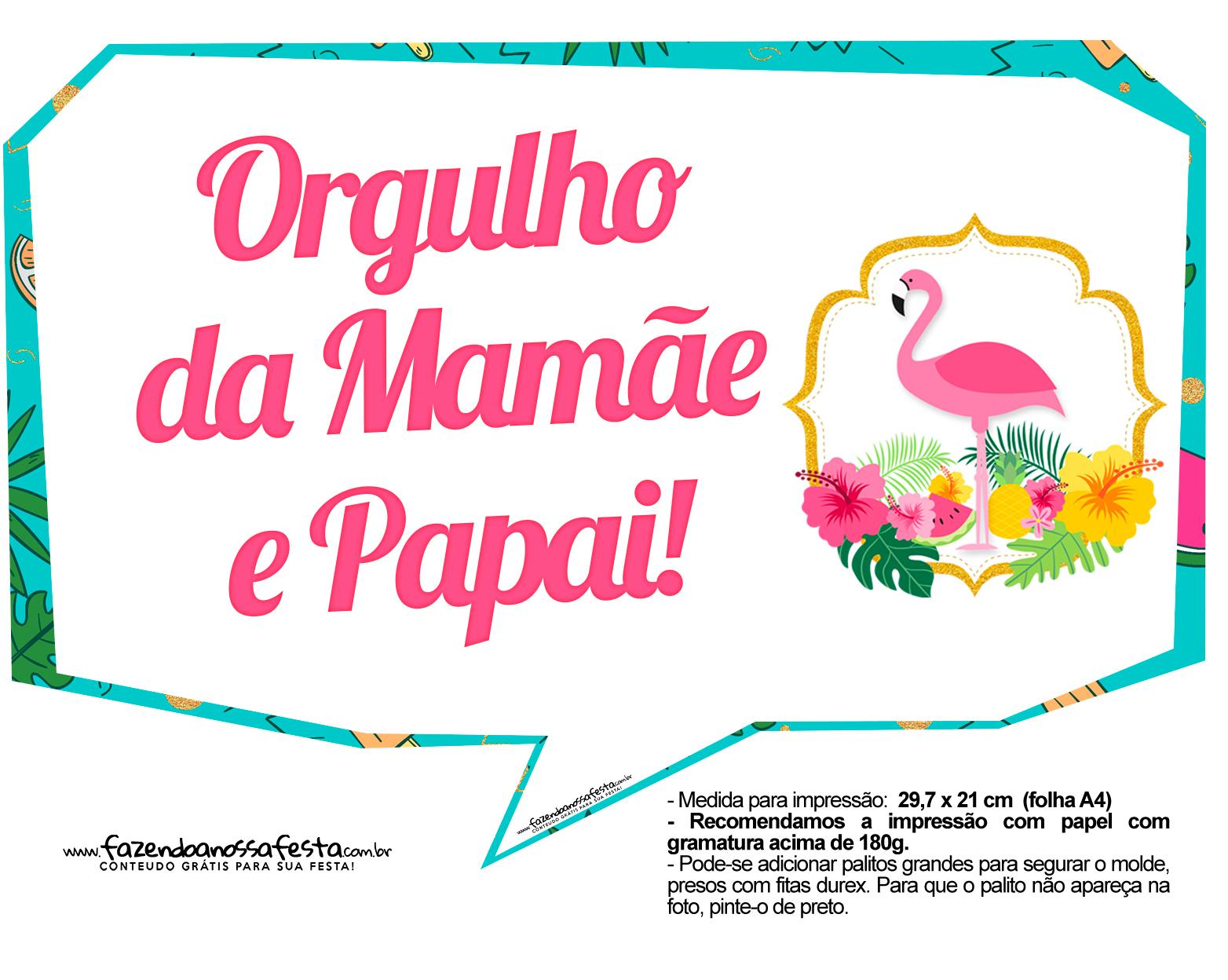Plaquinhas para Festa Flamingo 7