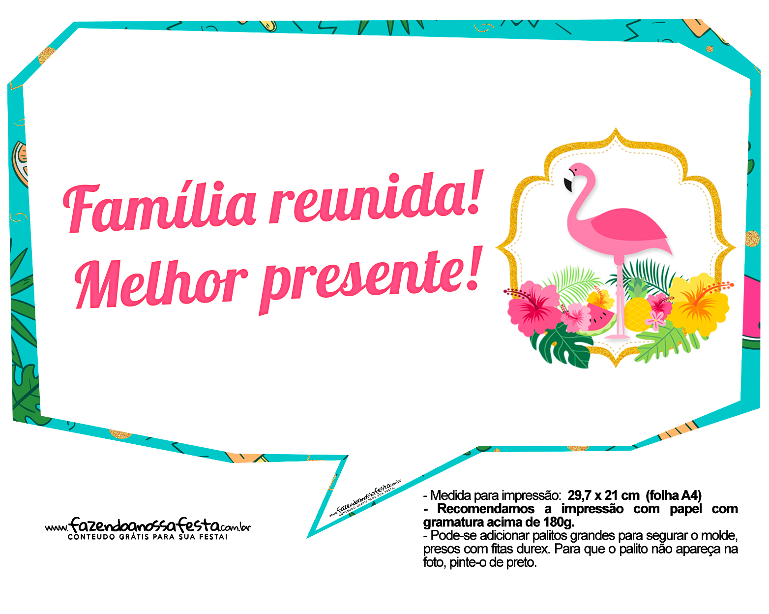 Plaquinhas para Festa Flamingo 9