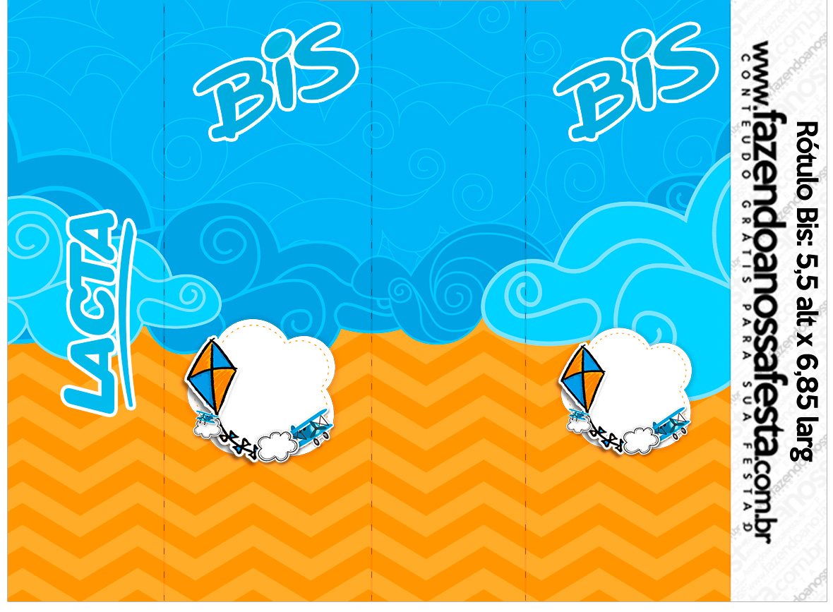 Rotulo Bis Pipa Laranja e Azul