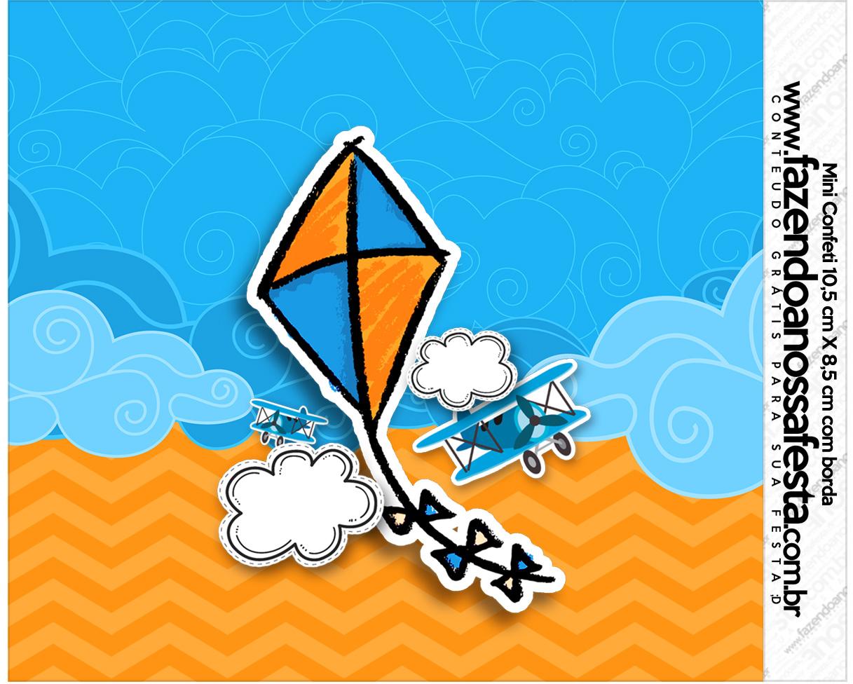 Rotulo Mini Confeti Pipa Laranja e Azul