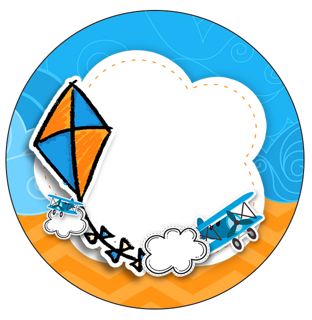 Rotulo Personalizado para latinha e toppers Pipa Laranja e Azul