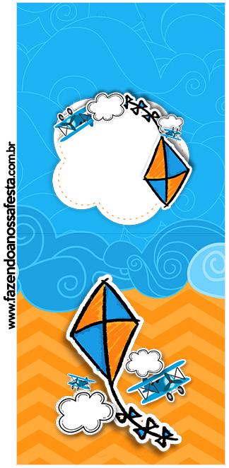Rotulo Pirulito Pipa Laranja e Azul