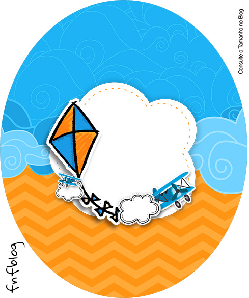Rotulo Tubete Oval Pipa Laranja e Azul Kit Festa