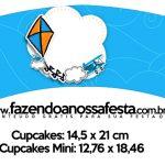 Saias Wrappers para Cupcakes Pipa Laranja e Azul Kit Festa